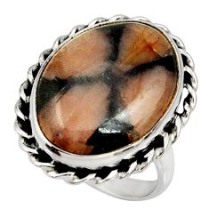 18.08cts natural brown chiastolite 925 silver solitaire ring size 9 r28137