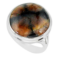 14.31cts natural brown chiastolite 925 sterling silver ring size 7.5 r88824