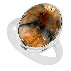 14.49cts natural brown chiastolite 925 sterling silver ring size 9.5 r88830