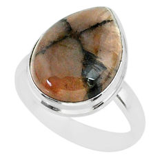 14.40cts natural brown chiastolite 925 sterling silver ring size 9.5 r88836