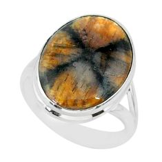 13.57cts natural brown chiastolite 925 sterling silver ring size 8.5 r88840