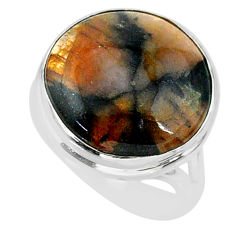 13.37cts natural brown chiastolite 925 sterling silver ring size 7 r88831