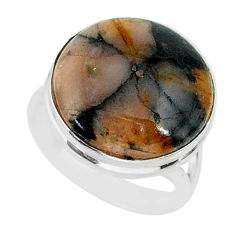 13.82cts natural brown chiastolite 925 sterling silver ring size 7 r88835