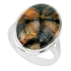 13.18cts natural brown chiastolite 925 sterling silver ring size 7 r88837