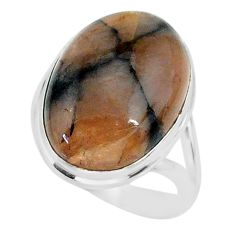 13.96cts natural brown chiastolite 925 sterling silver ring size 8 r88821