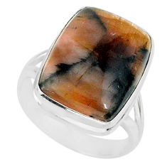 13.16cts natural brown chiastolite 925 sterling silver ring size 8 r88822