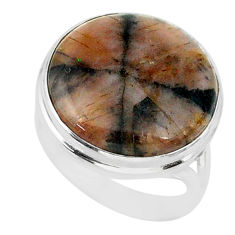 15.69cts natural brown chiastolite 925 sterling silver ring size 8 r88823