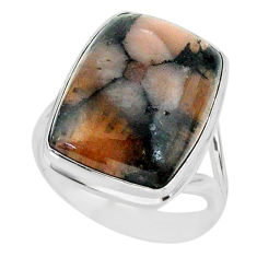 13.88cts natural brown chiastolite 925 sterling silver ring size 8 r88825