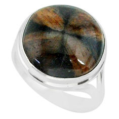 14.24cts natural brown chiastolite 925 sterling silver ring size 8 r88826