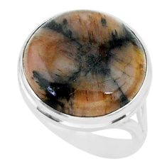 15.62cts natural brown chiastolite 925 sterling silver ring size 8 r88829
