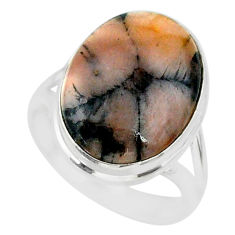 13.55cts natural brown chiastolite 925 sterling silver ring size 8 r88838