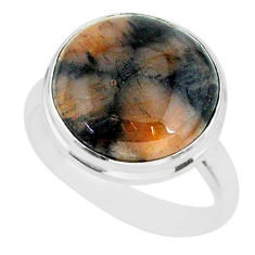 12.40cts natural brown chiastolite 925 sterling silver ring size 9 r88827