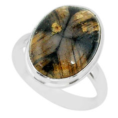 14.05cts natural brown chiastolite 925 sterling silver ring size 9 r88828