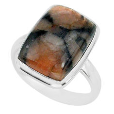 13.62cts natural brown chiastolite 925 sterling silver ring size 9 r88832