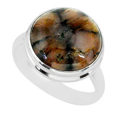 12.03cts natural brown chiastolite 925 sterling silver ring size 9 r88833