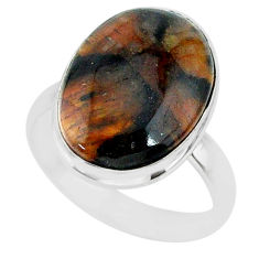 13.95cts natural brown chiastolite 925 sterling silver ring size 9 r88834