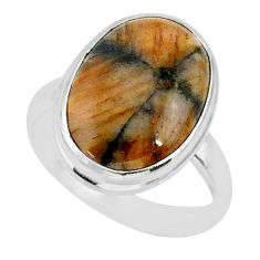 13.53cts natural brown chiastolite 925 sterling silver ring size 9 r88839