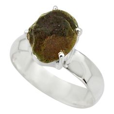 6.32cts natural brown chintamani saffordite 925 silver ring size 8.5 r43301