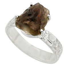 5.49cts natural brown chintamani saffordite 925 silver ring size 8.5 r43303