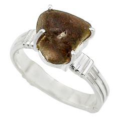 6.06cts natural brown chintamani saffordite 925 silver ring size 8.5 r43304