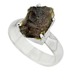 5.56cts natural brown chintamani saffordite 925 silver ring size 7.5 r43308