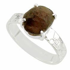 5.58cts natural brown chintamani saffordite 925 silver ring size 9.5 r43453