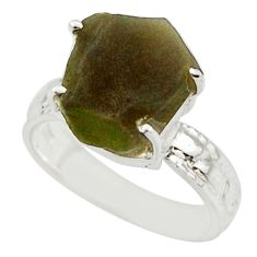5.84cts natural brown chintamani saffordite 925 silver ring size 6 r43458