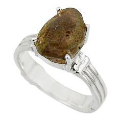 5.95cts natural brown chintamani saffordite 925 silver ring size 7 r43309