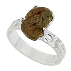 5.67cts natural brown chintamani saffordite 925 silver ring size 8 r43305