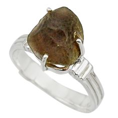 6.06cts natural brown chintamani saffordite 925 silver ring size 8 r43312