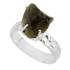 5.97cts natural brown chintamani saffordite 925 silver ring size 8 r43460