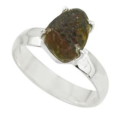 5.27cts natural brown chintamani saffordite 925 silver ring size 9 r43307