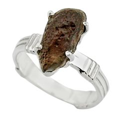 6.08cts natural brown chintamani saffordite 925 silver ring size 9 r43311