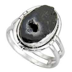 6.53cts natural brown geode druzy 925 silver solitaire ring size 8.5 d46490