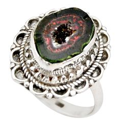 7.09cts natural brown geode druzy 925 silver solitaire ring size 8.5 r21381