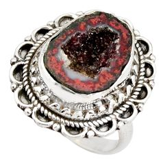 7.99cts natural brown geode druzy 925 silver solitaire ring size 7.5 r21382