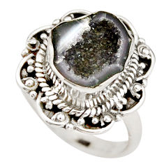 6.32cts natural brown geode druzy 925 silver solitaire ring size 8.5 r21383