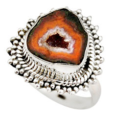 6.62cts natural brown geode druzy 925 silver solitaire ring size 7.5 r21385
