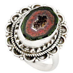 6.62cts natural brown geode druzy 925 silver solitaire ring size 6.5 r21386