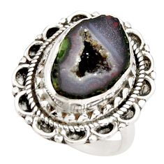 7.36cts natural brown geode druzy 925 silver solitaire ring size 6.5 r21387