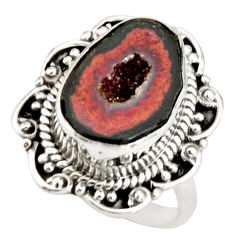7.13cts natural brown geode druzy 925 silver solitaire ring size 7.5 r21388