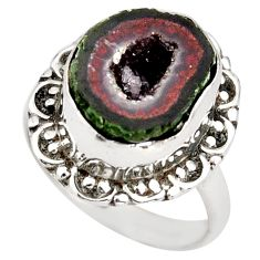 6.45cts natural brown geode druzy 925 silver solitaire ring size 7.5 r21395