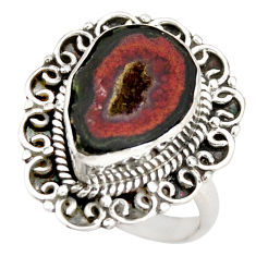 8.27cts natural brown geode druzy 925 silver solitaire ring size 8.5 r21400