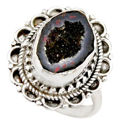 6.32cts natural brown geode druzy 925 silver solitaire ring size 7.5 r21402