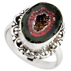 6.31cts natural brown geode druzy 925 silver solitaire ring size 7.5 r21410