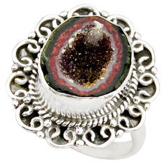 7.13cts natural brown geode druzy 925 silver solitaire ring size 8.5 r21418