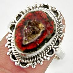 7.35cts natural brown geode druzy 925 silver solitaire ring size 8.5 r25175
