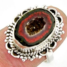 7.10cts natural brown geode druzy 925 silver solitaire ring size 6.5 r25176
