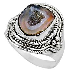 5.63cts natural brown geode druzy 925 silver solitaire ring size 7.5 r53597