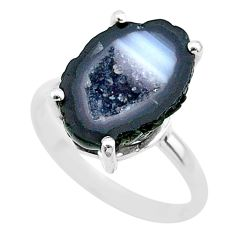 5.53cts natural brown geode druzy 925 silver solitaire ring size 6 t31519